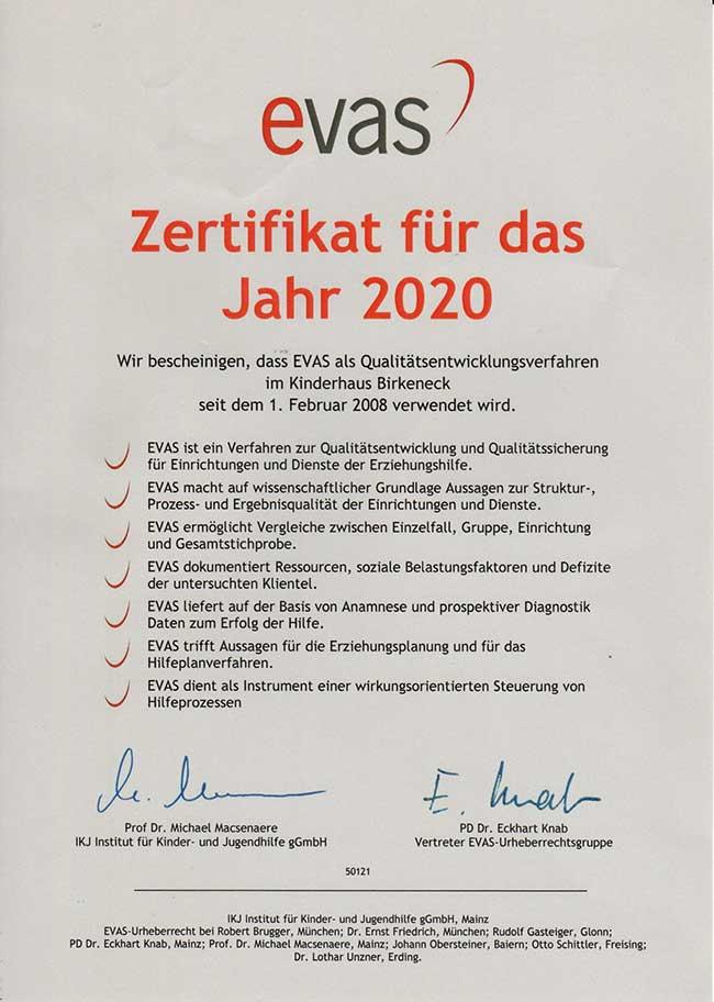 EVAS Zertivikat für das Jahr 2020